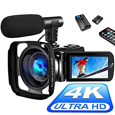 4K Video Camera Camcorder Digital YouTube Vlogging Camera Recorder UHD 30MP 3 Inch Touch Screen 18X Camcorder with Microphone,2 Batteries by SAULEOO