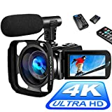 4K Video Camera Camcorder Digital YouTube Vlogging Camera Recorder UHD 30MP 3 Inch Touch Screen 18X Camcorder with Microphone,2 Batteries