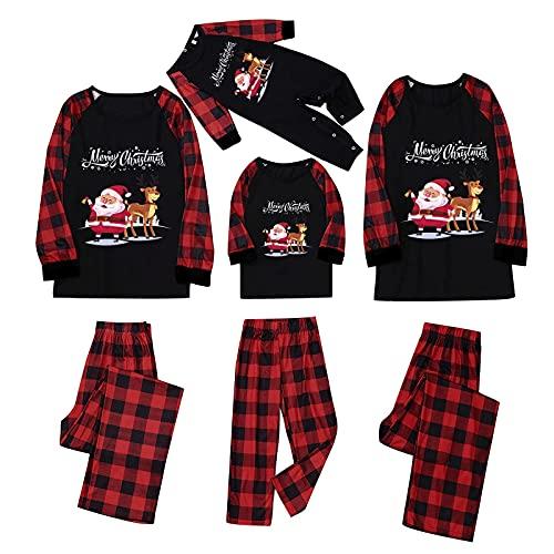 YQSR - Conjunto de pijama de Navidad con camiseta de manga larga y pantalón a rayas para padre, madre o bebé, ropa de noche