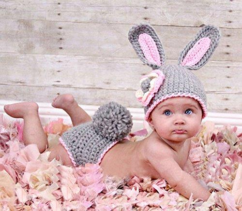 Baby Häkelkostüm Strick Kostüm Fotoshooting Baby Fotos Ostern Bunny Hase - Grau /