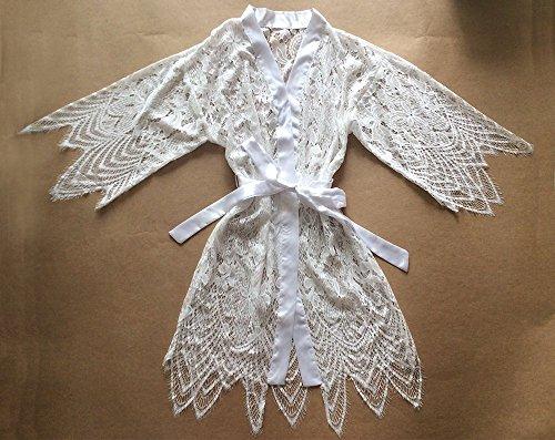 Traje de encaje blanco Kimono Robe (con adornos de encaje) -Ropa de Kimono Robe-Dama de honor Regalo-Fiesta de boda Regalo nupcial del partido