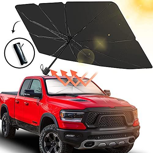 Car Windshield Sun Shade Umbrella,Foldable Car Windshield Sun Shade Umbrella,Windshield Sun Shade Umbrella,Car Umbrella Sun Shade Protect Vehicle from UV Sun and Heat (Large 57''x 31'')