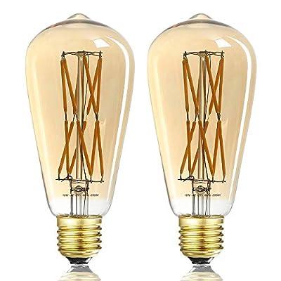 LEOOLS Vintage LED Edison Bulb Dimmable 12W Led Filament Light Bulb ST64 1200Lm 2500K Warm White (Amber Glass)100 Watt Incandescent Equivalent E26 Antique Lamp,2 Pack.