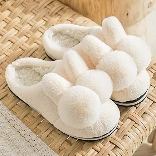 TAYIBO Caliente Suave Antideslizante Slippers Hombre,Zapatillas de algodón con Orejas de Conejo,...