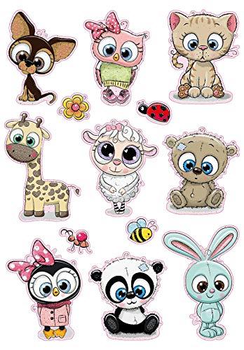 Avery Zweckform kinderstickers, 13 stickers (extra groot, baby's met glitter, voor kinderen om op te plakken, kinderverjaardag, cadeautjes, speelgoed, schatzoeken). 53252