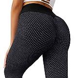 MOSHENGQI Women's Ruched Butt Lifting High Waist Yoga Pants Tummy Control Stretchy Workout Leggings Textured Booty Tights(Medium,#1 Dark Grey)