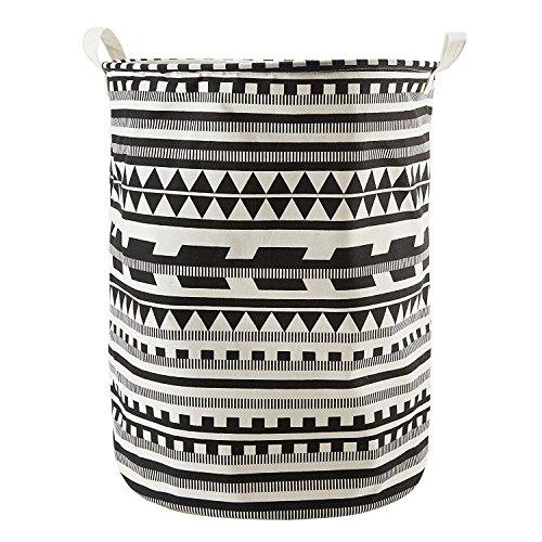 LAAT - Cesto para la colada, tela de algodón y revestimiento impermeable, diseño cilíndrico plegable y con asas, tamaño grande, 50 x 40 cm, negro, 40 x 50 cm