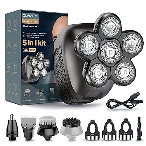 Glatzen Rasierer Herren DynaBliss Haarschneidemaschine für Glatze Männer 6D kleiner Rotationsrasierer Glatzenrasierer mit extra 2 Klingen,LED-Elektrischer Kopfrasierer Wasserdicht, Glatze Pflegeset…