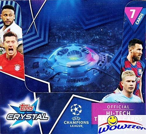 2019/20 Topps Champions League CRYSTAL Soccer HUGE 24 Pack Factory Sealed HOBBY Box with 168 Cards! Brand New TRANSPARENT HI-TECH Cards of all your Favorite EUFA Stars! Imported from Europe! WOWZZER!