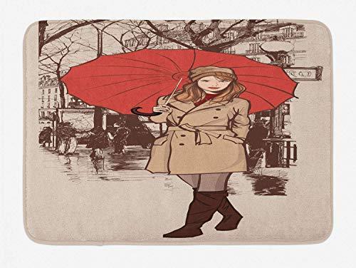 Der Regenschirm-Badeteppich des Mädchens, flüchtige von Hand gezeichnete Grafik einer Dame, die auf eine Paris-Straße geht, Plüschbadmatte mit rutschfestem, braunem und mehrfarbigem Schutzträger