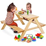 WilBee Kids Picnic Table Set, Kids Outdoor Table and Toddler Table for Babies or Children, Table & Chair Bench Set in Backyards, Lawns, Garden and Beaches - Wooden Outdoor Activity Table