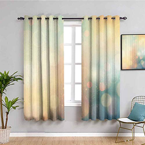 Abstract Blackout Curtain Under Sea Ocean Sea Inspired Image with Sunbeams Like Details Print Privacy Protection W72 x L63 Inch Dark Blue and Light Green