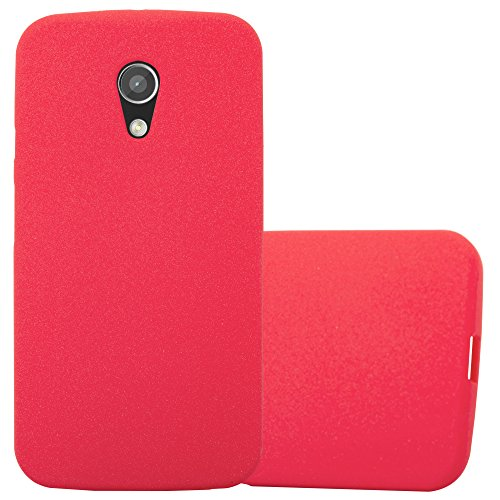 Cadorabo Hülle für Motorola Moto G2 - Hülle in Frost ROT – Handyhülle aus TPU Silikon im matten Frosted Design - Silikonhülle Schutzhülle Ultra Slim Soft Back Cover Case Bumper