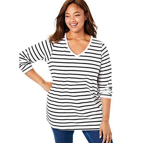 Woman Within Women's Plus Size Perfect Printed V-Neck Long Sleeve Tee - 22/24, White Stripe