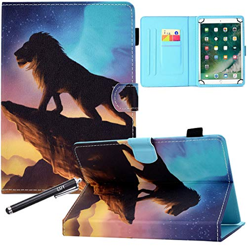 10 Inch Universal Case, GSFY Pretty Folio Stand Protective Case Leather Pocket Cover for iPad/Samsung/Kindle/Huawei/Lenovo/Android 9.6 9.7 10 10.1 10.4 10.5 Inch Tablet - Star Lion King
