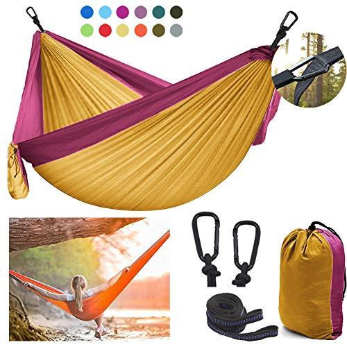 DDSGG Hamaca de Camping Doble 300x200 cm, Hamaca de Viaje al Aire Libre Hamaca Doble de Nylon Duradero con Correas de fijación y mosquetón Incluido,Pink Yellow