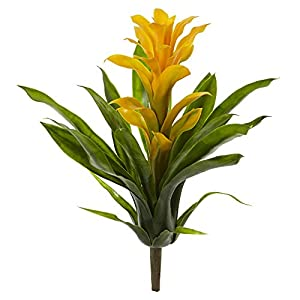 Nearly Natural 15 in. Bromeliad Artificial (Set of 4) Silk Flowers Yellow