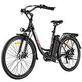 VIVI Bicicleta Eléctrica 350W 26'Bicicleta Eléctrica de Crucero/Bicicleta Eléctrica de Ciudad con Batería Extraíble de Iones de Iitio de 8 Ah, Shimano 7 Velocidades (Negro)