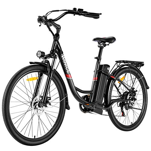 """VIVI Bici Elettrica Ebike 250W Bicicletta Elettrica per Adulti 26\""""Bici Elettrica Cruiser/City bike Elettrica con Batteria agli Ioni di Litio Rimovibile 8Ah, Shimano 7 Velocità (26 Nero)"""