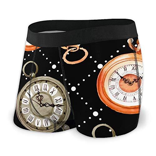 Antokos Herren-Boxershorts, enganliegend, für alte Uhr, Taschenuhr, schnell trocknende Unterwäsche Gr. L, Schwarz