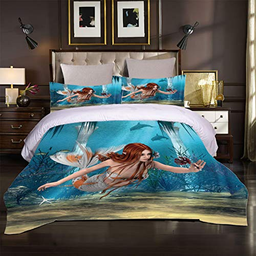 XOYKX 3D Printed Duvet Cover Set Super King Size - Mermaid Pattern 3 Pcs Bedding Set With Zipper Closure 260X240Cm + 2 Pillowcases Ultra Soft Hypoallergenic Microfiber Quilt Cover Sets