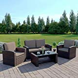 New Algarve <span class='highlight'>Rattan</span> <span class='highlight'>Outdoor</span> <span class='highlight'>Garden</span> Patio/Conservatory 4 Seater Sofa and <span class='highlight'>Armchair</span> <span class='highlight'>set</span> with Cushions and Coffee Table. Conservatory Sofa <span class='highlight'>Set</span> (Dark <span class='highlight'>Brown</span> with Dark Cushions)