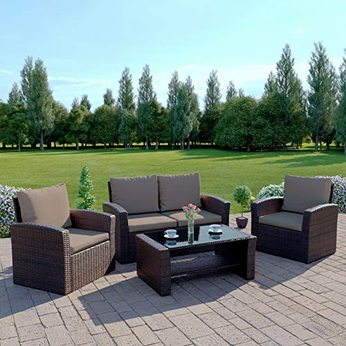 New Algarve Rattan Outdoor Garden Patio/Conservatory 4 Seater Sofa and Armchair set with Cushions and Coffee Table. Conservatory Sofa Set (Dark Brown with Dark Cushions)
