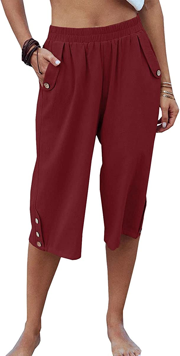Veatzaer Womens Casual Capri Pants Elastic Waist Solid Color 3/4 Summer Trousers with Pockets