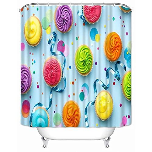 Minyose Cupcake Duschvorhänge Badezimmer Vorhang Wasserdichtes Dekorationsgeschenk 180 * 180Cm