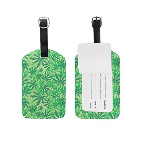 MyDaily Marihuana Gepäckanhänger aus PU-Leder mit Blattmotiv von Cannabis Muster 10 4.92 x 2.76 inch
