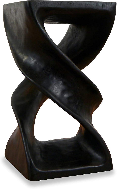 Livasia Massivholzsule doppelt gedrehtes Podest Beistelltisch (Handarbeit) Blaumenhocker (schwarz)
