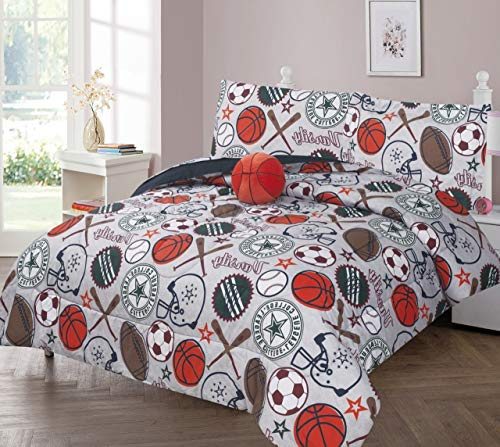 GorgeousHomeLinen Kids 6pc Silver Orange Basketball All Sports Varsity Champions Twin Bed in Bag Comforter with Matching Sheet Set with Pillow Friend for Boys