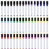 SIQUK 48 Piezas Marcador de pizarra magnética a granel Marcadores de punta fina 12 Plumas de borrado de colores brillantes con gomas de borrar para escuela y oficina