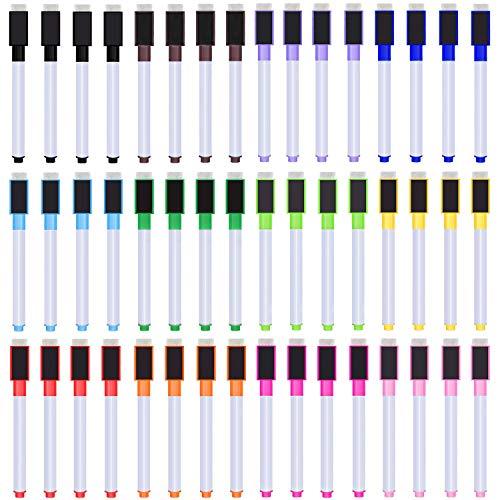 SIQUK 48 Stück Trocken Löschen Marker Großer Magnetische Whiteboard Löschen Marker Feine Spitzenmarkierungen 12 helle Farben Löschen Sie Stifte mit Radiergummi-Kappe für Schule und Büro