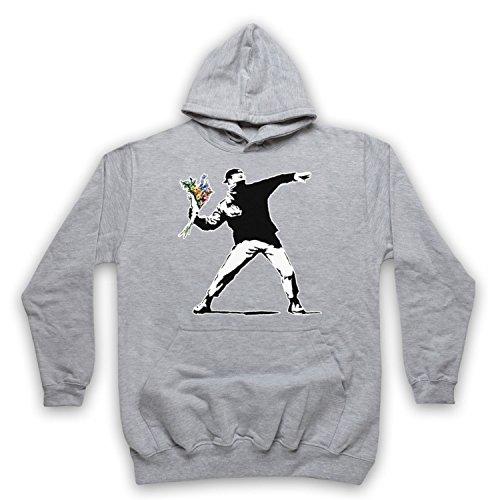 My Icon Art & Clothing - Body para bebé de Bansky, con grafiti de arte callejero de «hombre lanzando un ramo de flores» gris X-Large/pecho 122/ 127 cm
