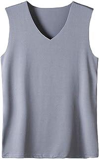 HIENAJ Men's V Neck Undershirt Tank Top 3 Pack Soft Warm Sleeveless Thin Thermal Vest