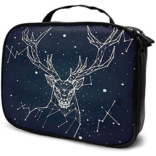 Ciel étoilé Constellation Cerf Maquillage Sac Portable Étui À Cosmétiques Grande Capacité Cosmétique Organisateur Durable