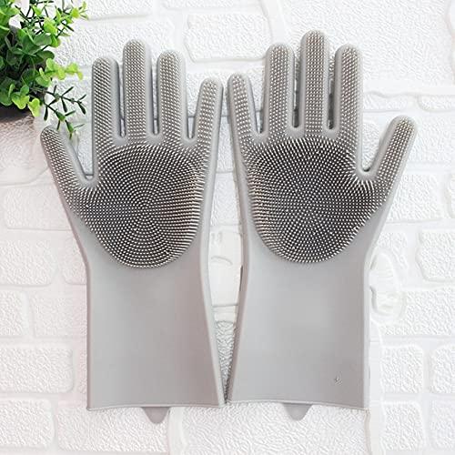 Esponja mágica de Silicona para Lavar Platos, Esponja para Lavar Platos, Guantes de Goma para Fregar, Limpieza de Cocina, 1 par-Gray-1 Pair