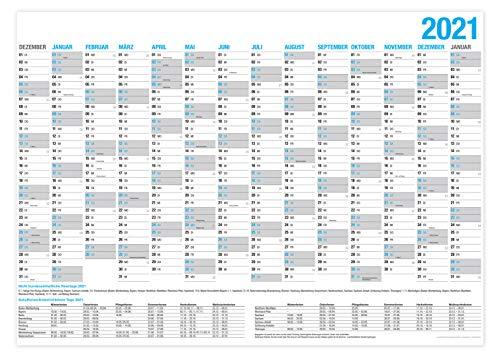 XXL Wandkalender 2021 / Kalender Jahresplaner - 14 Monate Jahreskalender + Gratis Urlaubsplaner 2021 (86 x 59 cm)