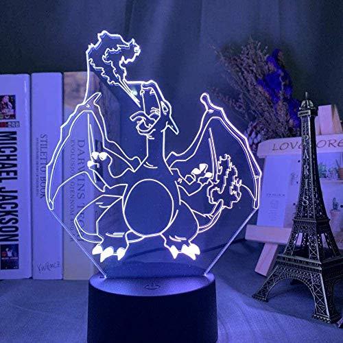Lámpara De Ilusión 3D Juego De Luz Nocturna Led Go Charizard Niños Decoración Del Hogar Sensor Táctil Colorido Lizardon Lámpara De Sueño Para Niños Decoración De La Habitación