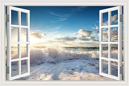 Summer Sunshine Sea Waves Golden Beach Relax Blue Sky Clouds Sunrise Sunset 3D Window View Landscape Wall Sticker PVC Wallpaper Bedroom Office Home Decor