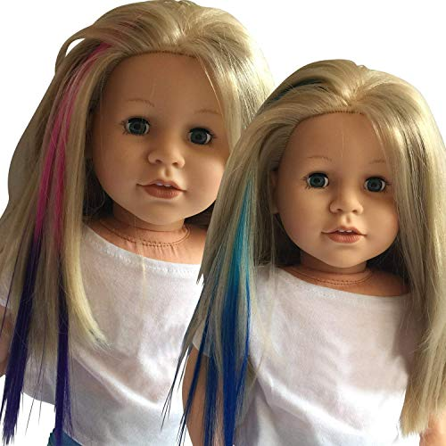 The New York Doll Collection D244-4 Clip in Hair Extensions for 18 inch and American Girl Doll Wig Piece (Light Blue/Blue & Pink/Purple)