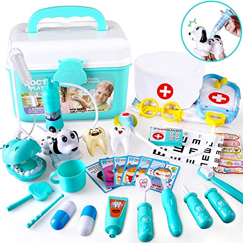 BeebeeRun Doctor Kit for Kids - Pretend Play Dentists and pet Doctors Toy, Medical Toys with Electronic Stethoscope in Carry Case, Role Play Dress Up Costume Doctor Toy for Toddlers Boys Girl