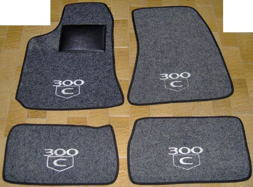 300 C Auto-Teppiche Grau Anthrazit, Komplettset-Gummimatten passgenau mit Stickerei Bianco