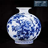 JHDPH Chinese Style Blue and White Porcelain Vase, Exquisite Bone China Peony Decoration, Ceramic Vase (Color : E) (Color : G) (Color : E)