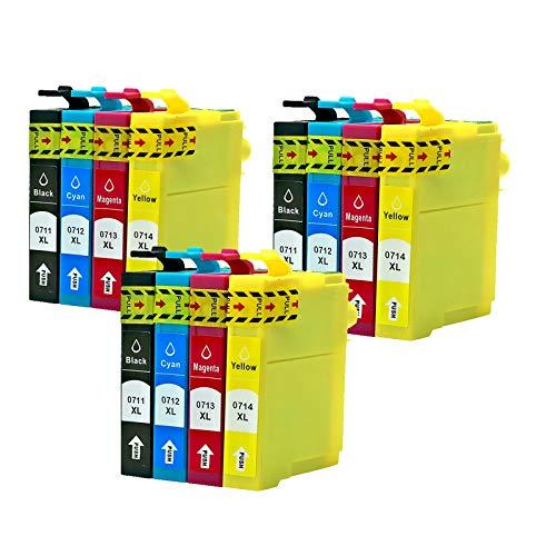 Caidi - Cartuchos de tinta compatibles con Epson T0711, T0712, T0713, T0714, para Epson Stylus SX218, SX200, SX205, SX100, SX105, S20, SX400, D78, D92, DX4000, DX7400, Office BX300F 12