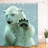 LB Duschvorhang Tiere Lustig Badvorhang Eisbär unter Wasser Polyester Wasserdicht Antischimmel Badezimmer Gardinen mit Haken, 150x180cm