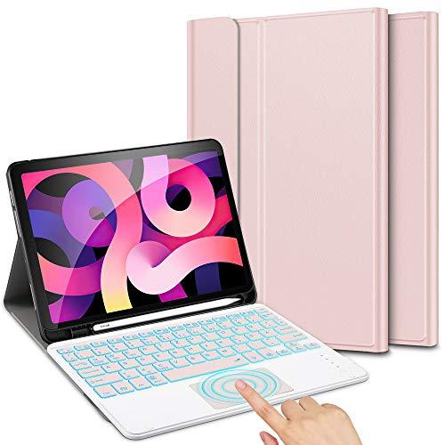 ELTD Tastatur Kompatibel mit iPad Air 4 Tastatur Hülle (Deutsches QWERTZ), Tastatur mit Beleuchtete & Trackpad für iPad Air 4. Generation 10.9 2020, RoségoldAir 4. Generation 10.9 2020, Roségold
