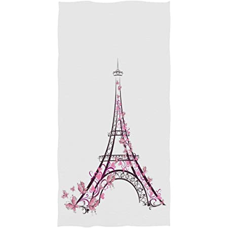 Gym and Spa Naanle Romantic Paris Butterfly Eiffel Tower Bike Print Soft Highly Absorbent Large Decorative Hand Towels Multipurpose for Bathroom Hotel 16 x 30 Inches