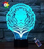 Optical Illusion 3D Lion Night Light 16 Colors Changing USB Power Remote Control Touch Switch Decor Lamp LED Table Desk Lamp Children Kids Christmas Xmas Brithday Gift